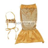 fashion clothing 2016 gold mermaid two piece swim suit baby clothes