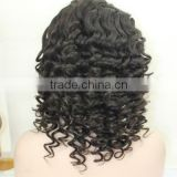 Fashion Deep Curl Chinese Virgin Hair Full Hade Made Swiss Lace Wig