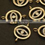 Cubic EYE Circle Connector (for Bracelet), Gold Links, Zirconia/ Zircon Links/ 15mm x 22.8mm