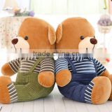 Brown teddy bear with overalls wholesale stuffed plush dressed teddy bear,Plush Teddy Bear With Overalls