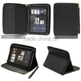 PU Leather Multifunction Zip Portfolio Case for Tablet with 360 Degree Rotating Stand and Easy Carrying Strap