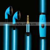 hot sell earbud for lights flashing EL lighting earphone with mic, for iphone LED shining light earphone