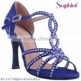 blue satin high heel crystal stone comfortable and fashionable ladies latin salsa dance shoes