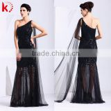 Elegant one-shoulder sexy backless shimmering beaded see-through black maxi evening dress with tulle