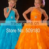 One Shoulder Beaded Floor Length Custom Made Vestidos Girl Ball Gown for Wedding FG035 western flower girl dresses for weddings