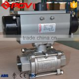 high quality 3pieces pneumatic ball valve with limit switch
