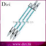 3Pcs Rhinestone Nail Art Brushes Silicone Head Nail Brush Pencil With Acrylic Handle