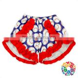 Popular Baseball Print With Red Cotton Ruffles Baby Girls Shorts