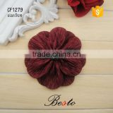 Elegant and noble dark red pearl fabric flower for mother's clothing