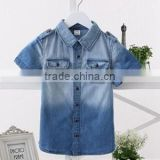 2015 Latest Shirt Designs for boys Short Sleeve Denim Shirts for Boys Cowboy Shirt for Boys