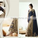 Heavy Embroidery Designer Saree+Georgette full saree with Jequard blouse and Lace border