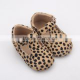 Leather baby girl leopard print vintage style sandals baby shoes