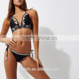 2017 New Summer Embroidered Tassel Trim Sexy Women Swimwear Bikini Set Beachwear Bathing