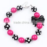 Bulk bubblegum beads chunky necklace with bowknot M5060608