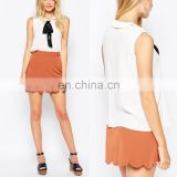 Wholesale women blouse summer latest design with bow tie nice shirt