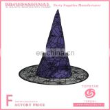 Purple polyster halloween party favor witch hat spider web decorated conical hats