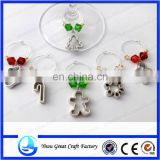 OrangeBeads Antique Silver Tone Christmas Collection Enamel Pendant Wine Glass Charms Dinner Table Decoration With Gift Box