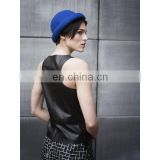 Leather sleeveless shirts round collar black women T-shirt