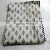 lozenge shap Indian Cotton White Damask Hand Block Printed AC Quilt Dohar 300