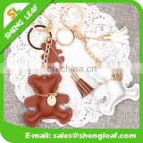 Funcy bear shaped with various colors leather keychains