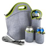 large neoprene lunch bag set with shoulder strap