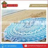 Indian Ombre Mandala Fringe Tassel Round Roundie Beach Throw Tapestry Round Yoga Mat Wall Hanging