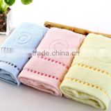 blue /pink/ yellow circle design 100% cotton Dobby terry baby bath towel / massage towel