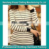Black and White Striped Shirts for Women Fashion Apparel Wholesale Fitness Lady Apparel