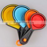 Portable Silicone Measuring Cups & Spoons 4-Piece Set Folding colorful colored plastic measuring cups