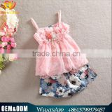 Wholesale New Product Baby Girl Clothes 2016Summer Girl Suit Sets Lovely Little Girl Clothes Chiffon Flower Girl Printed Dresses