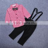New fashion baby boys clothing sets with long sleeve plaid t shirts +suspender pants outfits