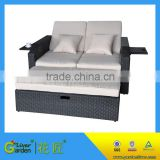 Wholesale rattan pool plastic wicker recliner double sun lounger