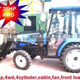 35hp,40hp 4wd farm tractor with loader and backhoe,4cylinders,8F+2R shift,with Cabin,heater,fan,fork,blade