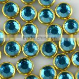 Korean hot fix rhinestone Mirror glass stones metal, hotfix Crystal rhinestone with metal fitting for clothing design
