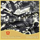 Black ground white words printing design for swimwear /scrawl letters on underwear fabric