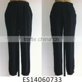 Fashion viscose pure black ladies baggy pants