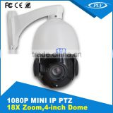 100 meters IR range 4 Inch 18x optical zoom 2MP mini high speed dome ptz security camera