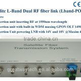 Satellite L-Band Dual RF fiber link (Lband-PON)With Built-in WDM muxing GPON OLT 1490nm/1310nm