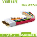 Veister Low Price China Mobile Phone 22CM Short Flat Noodle Magnet USB Charger Cable for iPhone 5