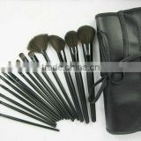 factory china Professional 15pcs function Cosmetic makeup Brush set kit with Bag black long handle recyclable wood 2014