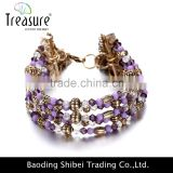 Multi color Charming jewellry purple beads chain bracelet jewelry with alloy chain tassel fashion jewelry