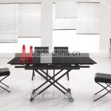 "L808H Wholesale solid black color extendable glass coffee table with adjust height 19"" to 29"""