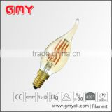 Warm White 2200K E12 Dimmable 3.5w LED Filament Candelabra Light Bulbs, Amber cover ,110V