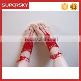 V-978 new design beach wedding barefoot sandals cotton crochet anklets with toe ring ankle bracelet indian foot jewelry