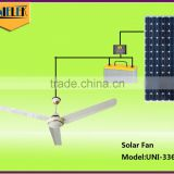 Strong air flow wall mounted / remote control dual use solar energy battery ac dc ceiling fan