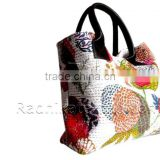 RTHHBC-36 White Indian Kantha Tote Bag hand Made Shoulder Kantha Bags Jaipur Manufacturer
