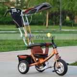 Kids tricycle with back seat / cheap baby twins tricycle / double seat children tricycle for hot sale