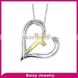 Custom engraved Inspired christian jewelry heart stainless steel cross pendants gold for women