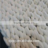 Wholesale fashion hand knitted white merino wool blanket