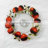 Dia 30.5cm apple pattern turntable tempered glass cake stand